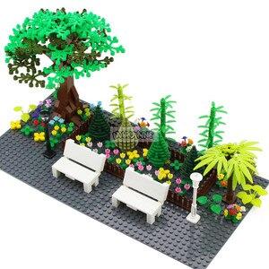 Image 3 - Marumine MOC Baum Anlage Zubehör Teile Bausteine Kompatibel Blume Grün Gras Bush Blatt Dschungel Garten Set Stadt Ziegel