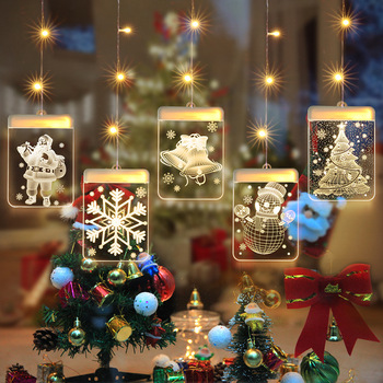 LED Night Light Hanging Christmas Lights Fairy Lights Santa Claus Lamp with Suction for Door Window Holiday Decoration Outdoor led pineapple shape solar lights garden lights hanging night light waterproof wall lamp fairy night lights art home decoration
