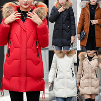 Oeak Winter Jacket Women Warm Hooded Fur Collar Casual Parka Coat Solid Cotton Padded Zipper Pocket Red Parka Lady Jacket