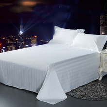 Hotel Sheet Mattress Cover 40S 60S Tribute Silk 100% Cutton Solid High-End White Fitted Bed Sheet Satin For Home Hotel Sheet