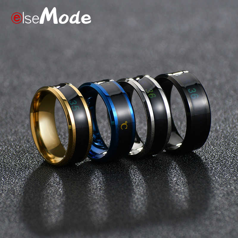 ELSEMODE Titanium Staal Temperatuur Meting Ring voor Vrouwen Mens Cool Wedding Band Ringen Anel Masculino Lover Gift