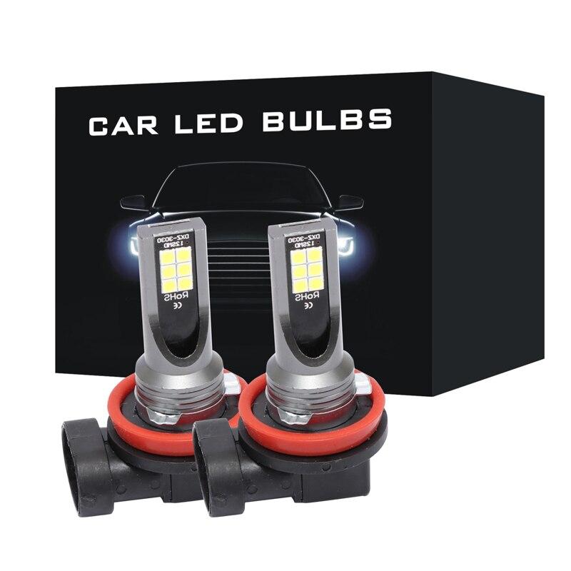 ASLENT 2Pcs H8 H11 Led HB4 9006 HB3 9005 Fog Lights Bulb 3030SMD 2400LM 3000K 6000K White Car Driving Running Lamp Auto 12V 24V