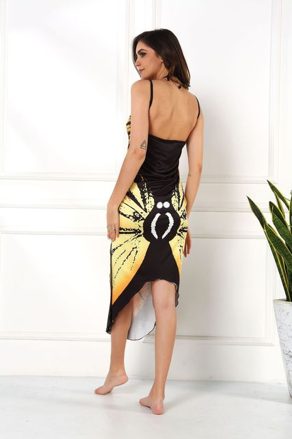 2020 Summer Women Beach Wear Tunic Bikini Bath Sarong Wrap Skirt Swimsuit Cover Up Butterfly Print Sexy Cover-Ups Dress Swimwear 6