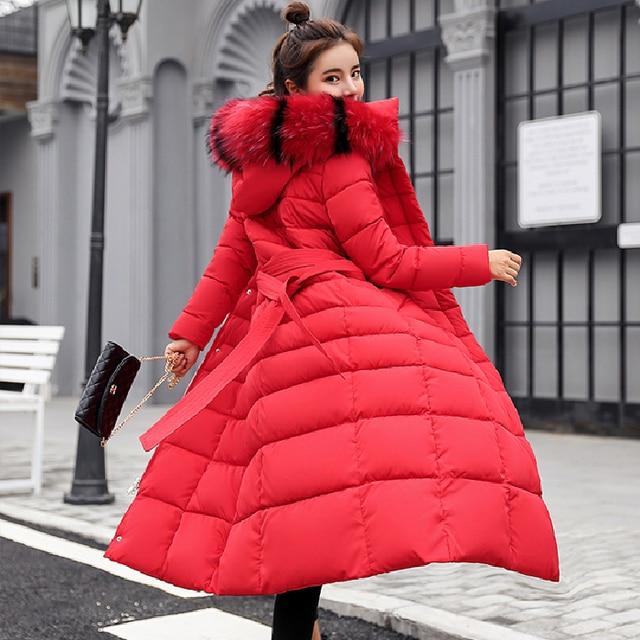 Winter jacket women's warm fashion bow belt fox fur collar coat long dress women's thick coat 44