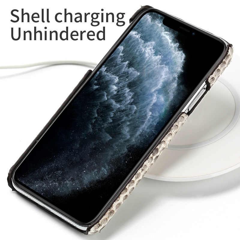Funda de teléfono de piel auténtica de pitón para iPhone 11Pro 11 Pro Max X XS max XR 5s 5 6 6s 7 8 Plus SE 2020 nueva funda de lujo de piel de serpiente