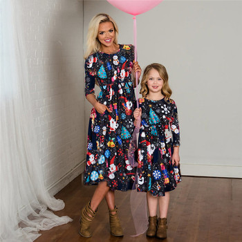 mother daughter dresses for mommy and me matching clothes family look outfits mom girl dress vintage long mom christmas C0645