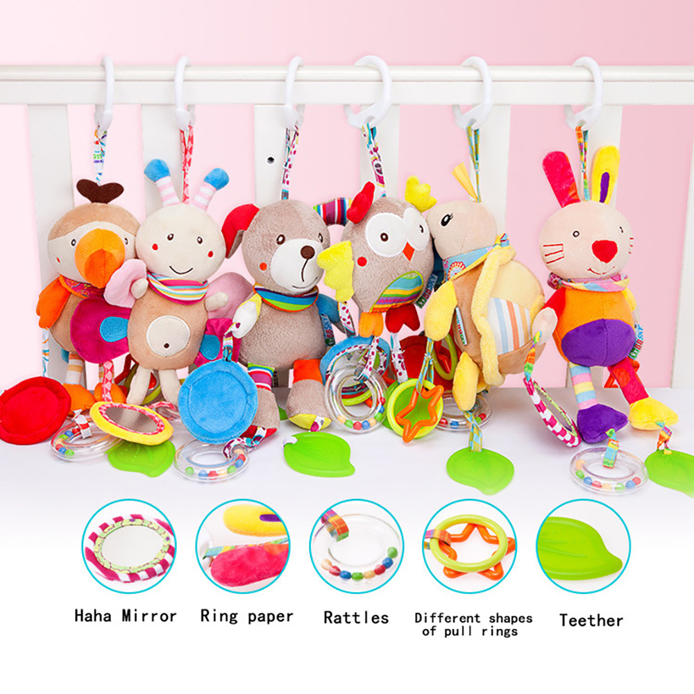 Cute Animal Wind Chime Baby Toy Plush Bed Trailer Hanging Toys Baby Plush Stuffed Rattle Mobile Infant Educational Bed Bell Gift