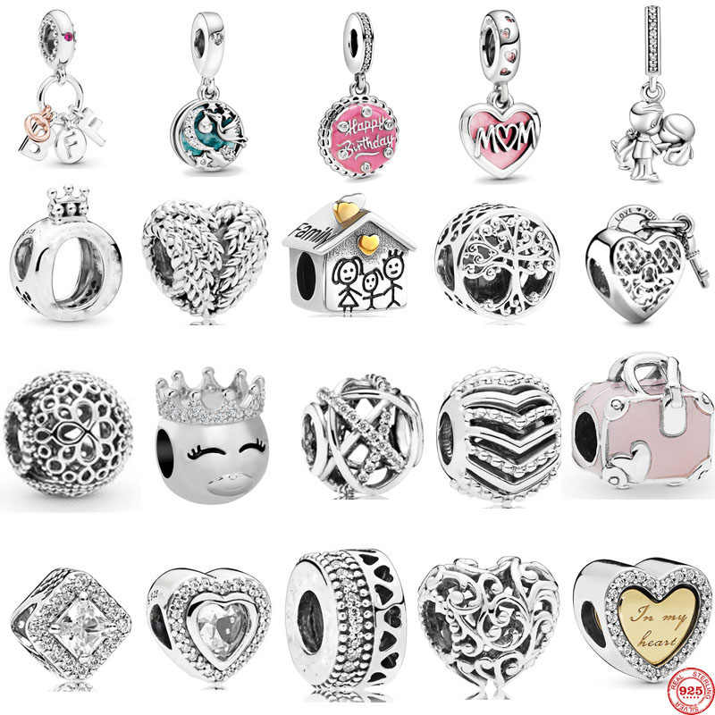 new free shipping Best Friends Heart & Key family mom Dangle bead fit  Original Pandora charms silver 925 bracelet women C009