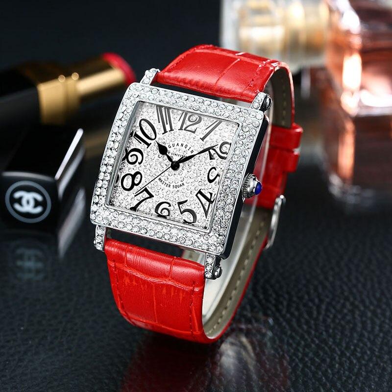 Saatler'ten Kadın Saatleri'de Kırmızı deri kadın saatler marka lüks İzle kadınlar elmas moda cenevre bayanlar İzle kadın kuvars saati saat 2020 yeni title=