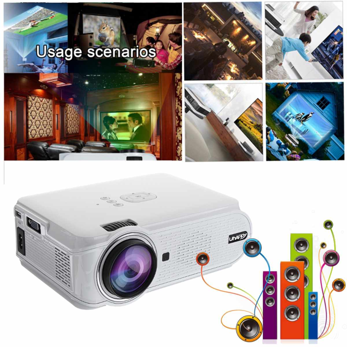 Tragbare HD 1080P Video Beamer LED Mini Projektoren 7000LM Heimkino Video Strahl 4K für Home Cinema Video spiele Smartphones