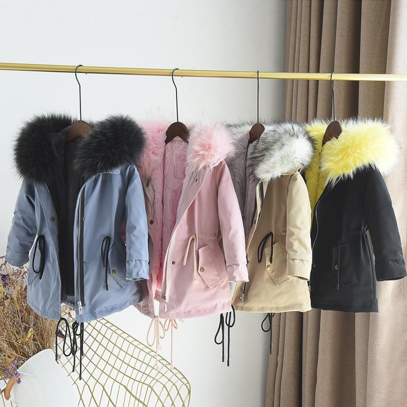 2019 Winter New Children Girls Detachable Hooded Jackets Coat Kids Boys Faux Fur Collar Thick Warm Outerwear Parkas Clothes N72