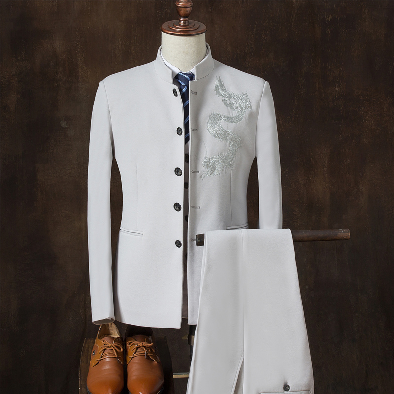 2019 Chinese Style Traditional Suit Suits , Ethnic Meeting Suits Sets , High-quality Men's Casual Collar Suits + Vest + Pants