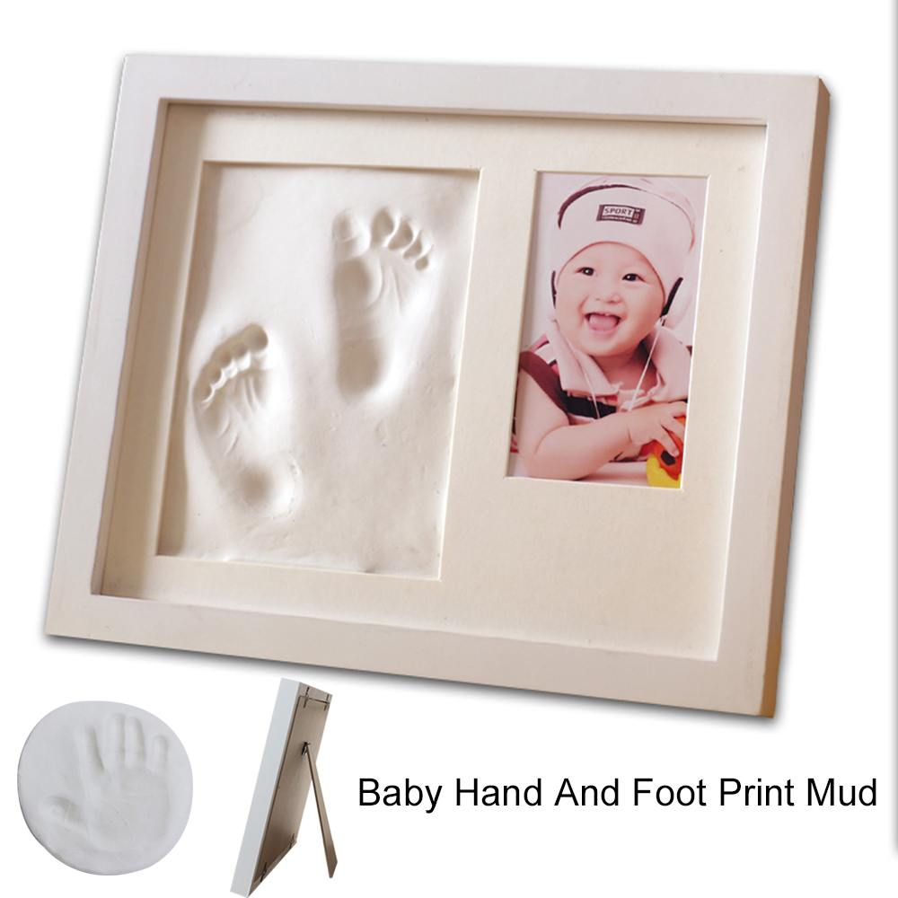 28*23cm Baby Photo Frame With Non-toxic Newborn Hand Food Mould Maker DIY Handprint Baby Print Kit Kids Shower Birthdag Gift