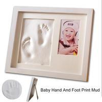 28*23cm Baby Photo Frame with Non toxic Newborn Hand Food Mould Maker DIY Handprint Baby Print Kit Kids Shower Birthdag Gift
