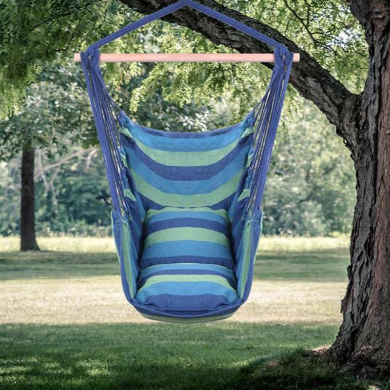 Unique Cotton Canvas Hanging Rope Chair With Pillow Multi Color High Quality Durable And Durable Wear Resistant Structure