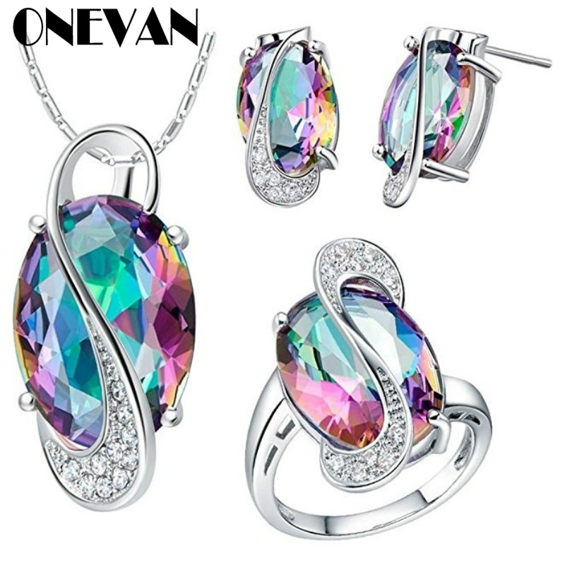 Earring-Ring Necklace Jewelry-Sets Rhinestone Silver-Plated Fashion Women's White Mystic