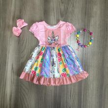 부활절 봄 여름 드레스 kenn 길이 유니콘 토끼 짧은 소매 프릴 아기 소녀 우유 실크 어린이 의류 일치 액세서리