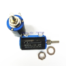 1pcs/lot WXD3 13 2W Potentiometer + 1 knob 100 200 220 470 680 1K 2.2K 3.3K 4.7K 5.6K 6.8K 10K 22K 33K 47K 100K Ohm WXD3 13 2W