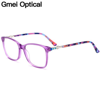 Gmei Optical Acetate Glasses Frame Women Square Prescription Eyeglasses Myopia Optical Frame Female Full Rim Spectacles M22003 1 74 index anti blue ray prescription optical eyeglasses spectacles lenses rx able lenses free assembly with glasses frame