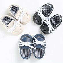 Infant Toddler Sneakers Baby Boys Girls Soft Sole Crib Shoes Newborn to 18Months cheap CANIS COTTON Unisex Solid Spring Autumn Cross-tied Lace-Up Fits true to size take your normal size Leather