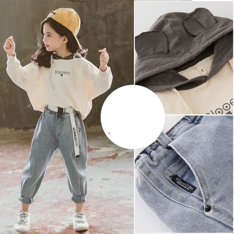 Fashion Girls Fall Outfits Hooded Sweatshirt & Jeans 2pcs Sets Child Boutique Clothing  10 12 Year Teen Clothes set Spring 2020 6