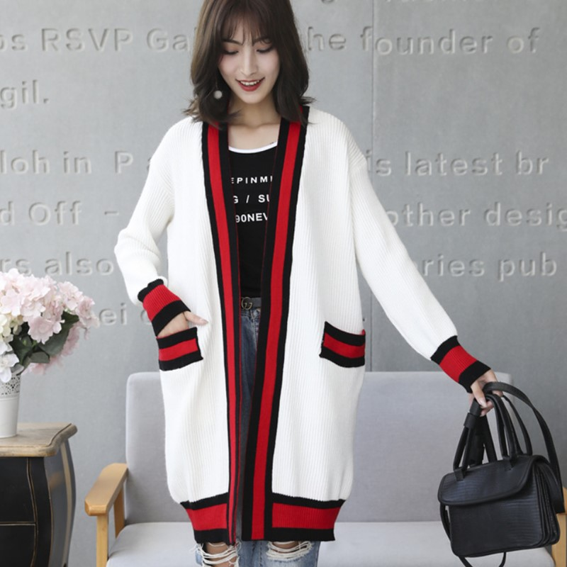2019 Autumn Panelled Striped Knitting Cardigan Women Medium-Long Loose Pockets Long Sleeve Sweater Female Casual Coat Outerwear