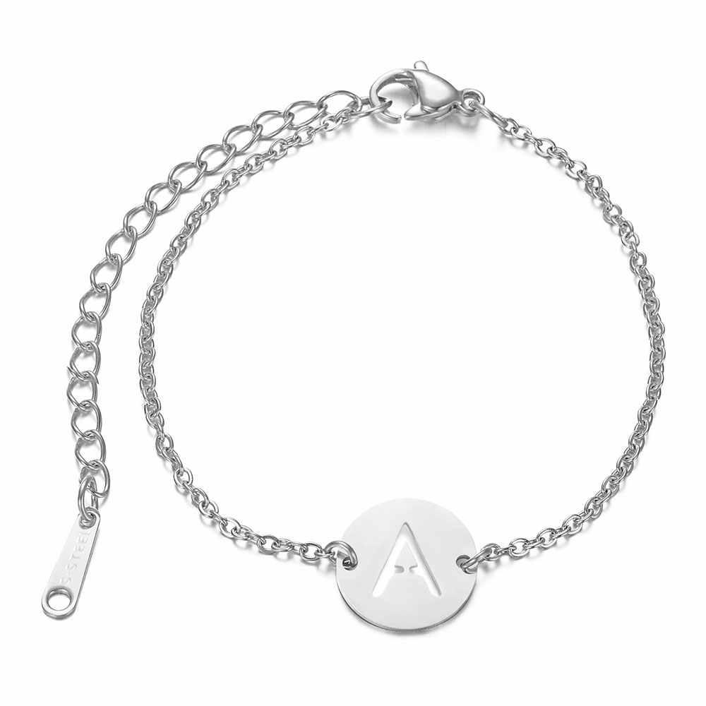 316L ze stali nierdzewnej inicjały bransoletka z imieniem od A-Z 26 inicjały litery srebrny i złoty łańcuch Femme prezenty dziewczyny 20cm