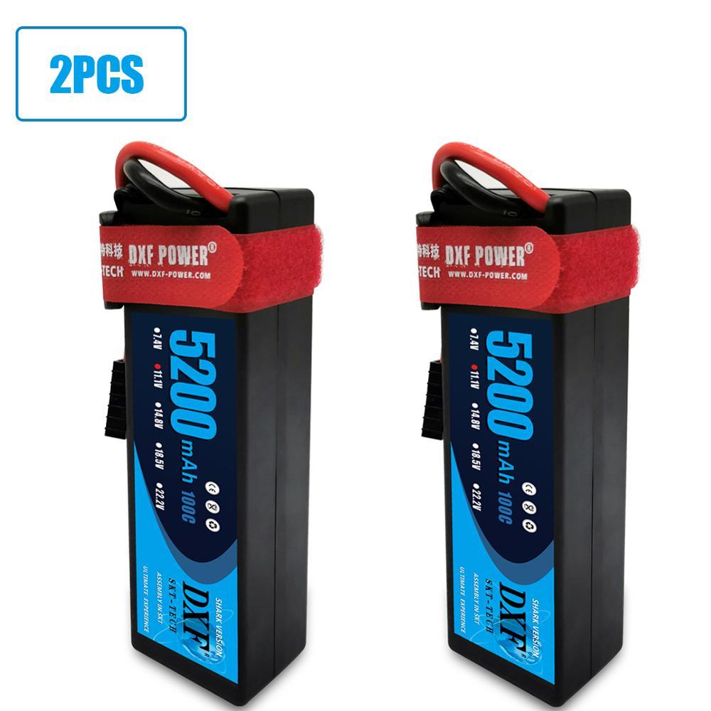 Dxf 2 pcs bateria lipo 2 s 3 s 7000mah 3500mah 11.1 v 5200mah hardcase 100c 200c 11.1 v 2700mah 30c para o carro do helicóptero 1/8 rc do zangão