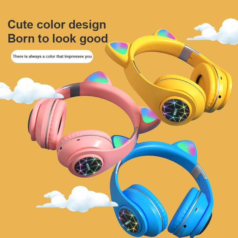 M2 Wireless Bluetooth 5.0 Car Headphone Headset Cat Ear Luminous With Mic Hands-free Support TF Card AUX Play For Children Adult