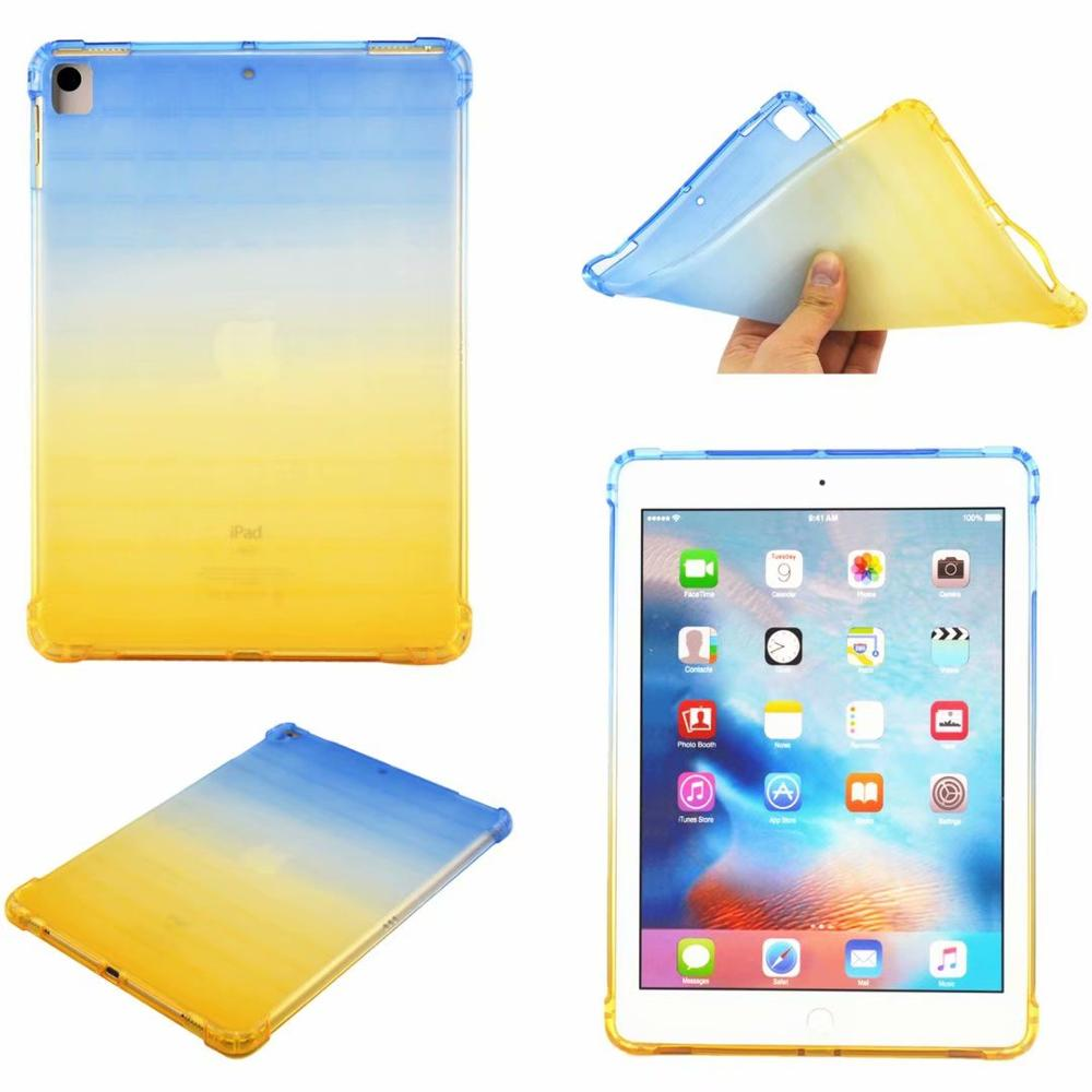 Blue-Yellow Purple High Duty Coque for iPad 10 2 Case Shockproof A2200 A2198 A2233 Soft Silicone TPU Gradient