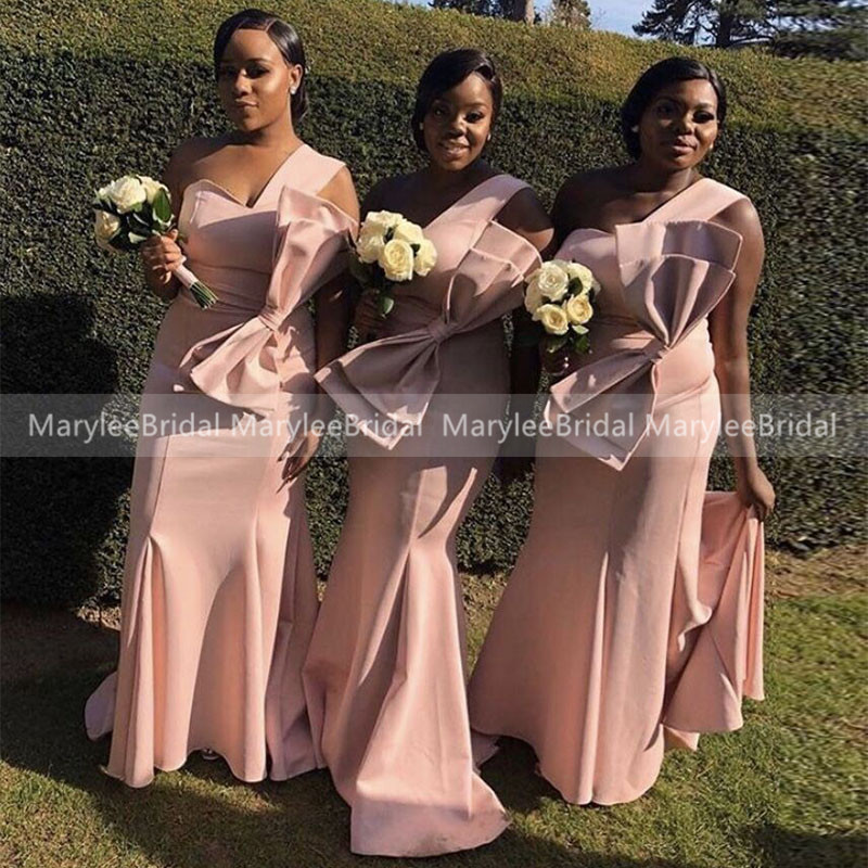 Blush Pink One Shoulder Long Bridesmaid Dresses With Big Bow Mermaid Vestido Madrinha Wedding Guest Dress Party For Women