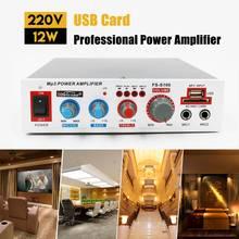 FS-S100 12W 220V линейный усилитель аудио USB TF карты Bluetooths Профессиональный Мощность разъем Усилитель-сабвуфер Питание Amp