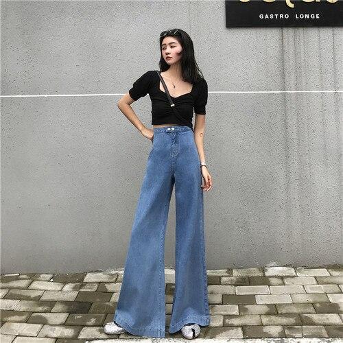 New Arrival Spring Korea Fashion Women High Waist Jeans 80s Vintage Cotton Denim Flare Pants Female Loose Wide Leg Pants S323