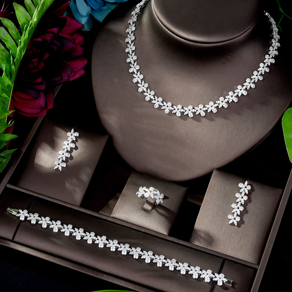HIBRIDE Luxury High Quality Cubic Zirconia Leaf Bridal Jewelry Earrings Necklace Set for Women Wedding Dinner Party N-1204