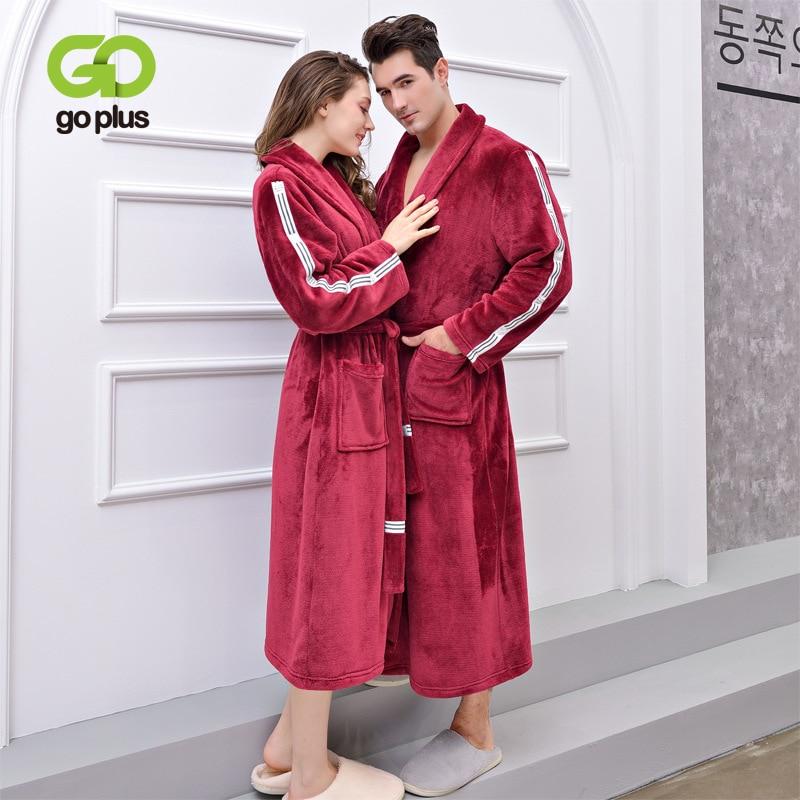 GOPLUS 2019 Winter Noble Couple Robe Women Thick Warm Terry Sleepwear Long Bathrobes Plus Size Casual Robes Women Peignoir Femme