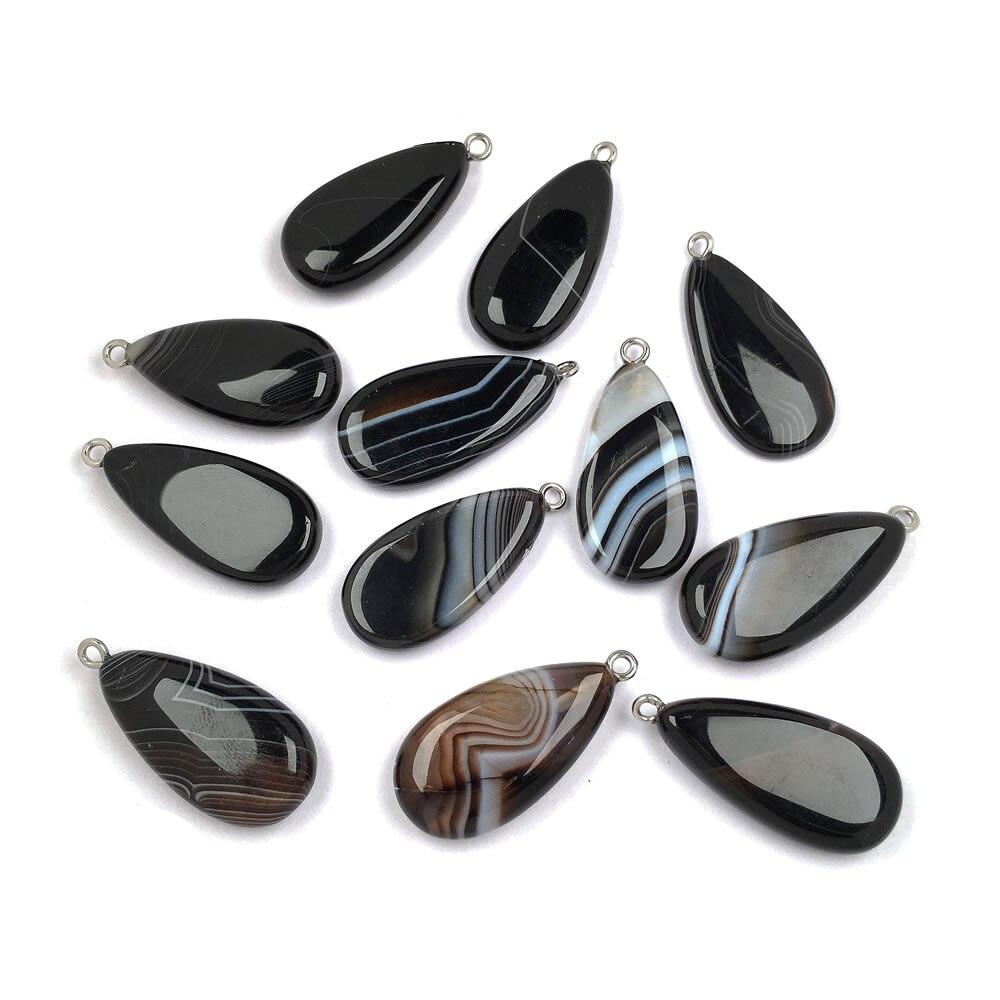 Natürliche Stein Gestreiften achate Anhänger Elliptische form Exquisite Anhänger charme für Schmuck machen DIY Halsketten Zubehör Anhänger    - AliExpress