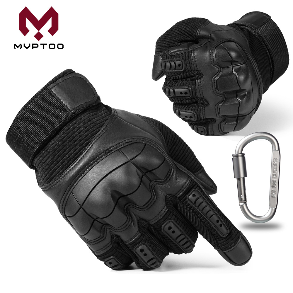 Écran tactile PU cuir Moto gants Moto Motocross Moto cyclisme dur Knuckle équipement de protection complet doigt gant hommes