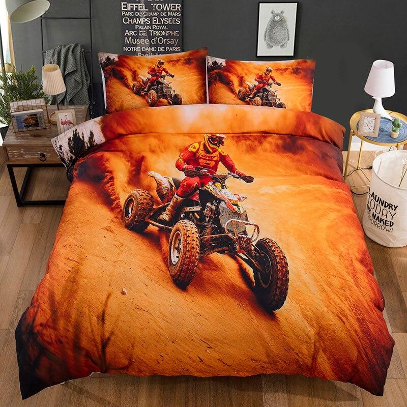 Jaune 3D linge de lit moto course ensemble de literie King Size housse de couette ensembles unique enfants housse de couette avec oreiller Sham