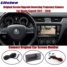 Liislee For Skoda Superb 2017~2018 Connect Original Screen Monitor Rear View Trunk Handle Camera Intelligent Dynamic Trajectory