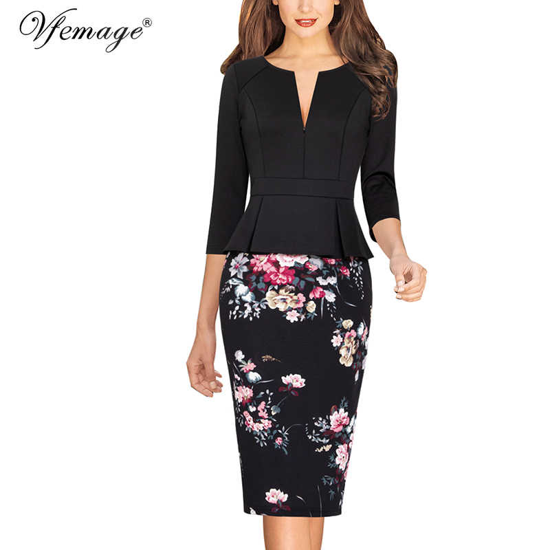 Vfemage Womens Rits Bloemen Gestreepte Print Solid Slim Dragen Om Te Werken Business Office Party Schede Bodycon Pencil Dress 671