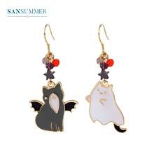Cute black and white cat stars gold cartoon animal fashion asymmetric girl charm popular hot new earrings For Women Jewelry