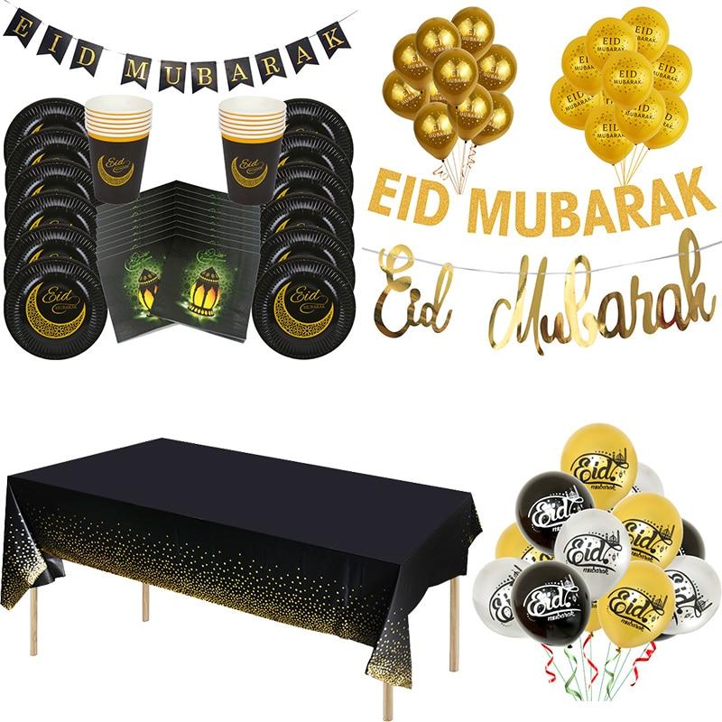 Gold/Schwarz Ramadan Eid Mubarak Dekoration Papier Banner Platte Tasse Hadsch Eid Mubarak Decor Muslim Islamischen Event Party Ballons favor