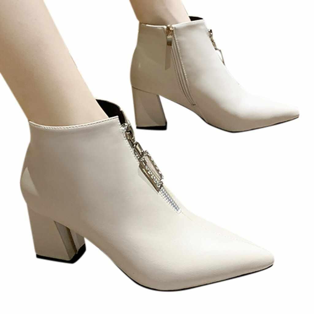 SAGACE kadın yarım çizmeler burnu açık nokta Metal toka çizmeler kare topuk kadın sivri fermuar çizmeler yeni liste 2020