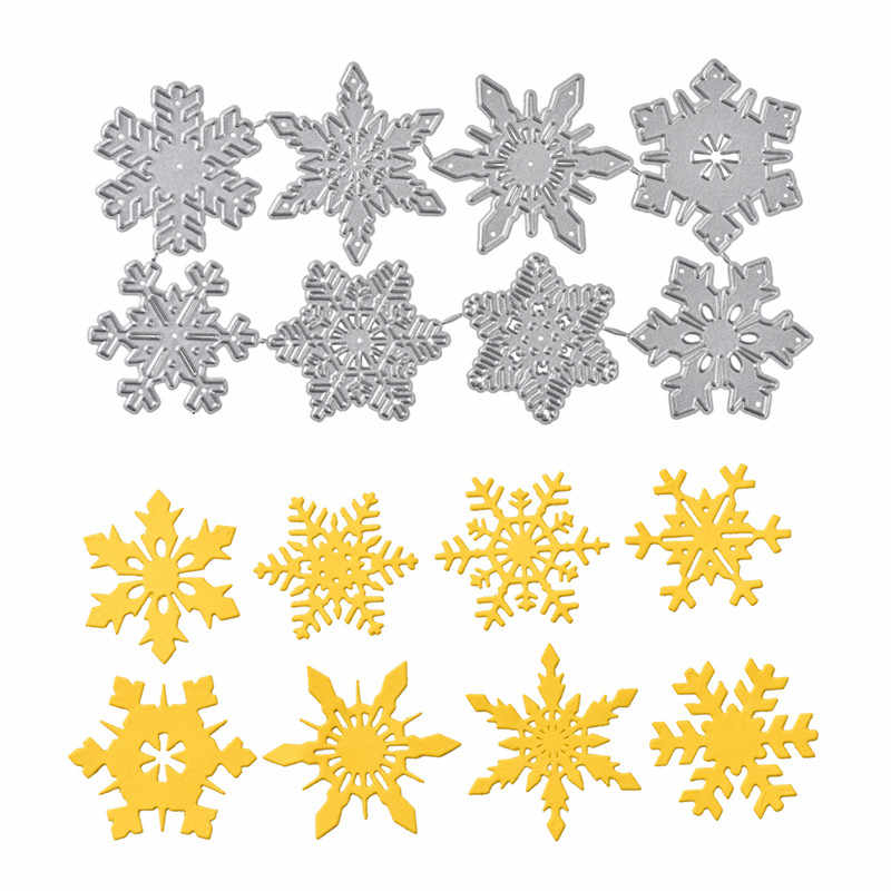 DiyArts 8pc Snowflake Cutting Dies Christmas Metal Cutting Dies Stencils Die Cut for DIY Scrapbooking Album Paper Card Embossing