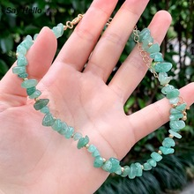 SAY HELLO Natural Stones Green Aventurine Gravel Necklaces for Women Handmade Small Shingles Chokers Jewelry Gift Collares K3464