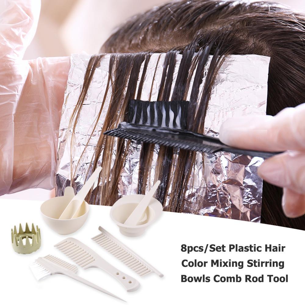 8pcs/Set Plastic Hair Coloring Sets Professional Salon Durable Hair Color Mixing Stirring Bowls Comb Rod Dye Styling Tools