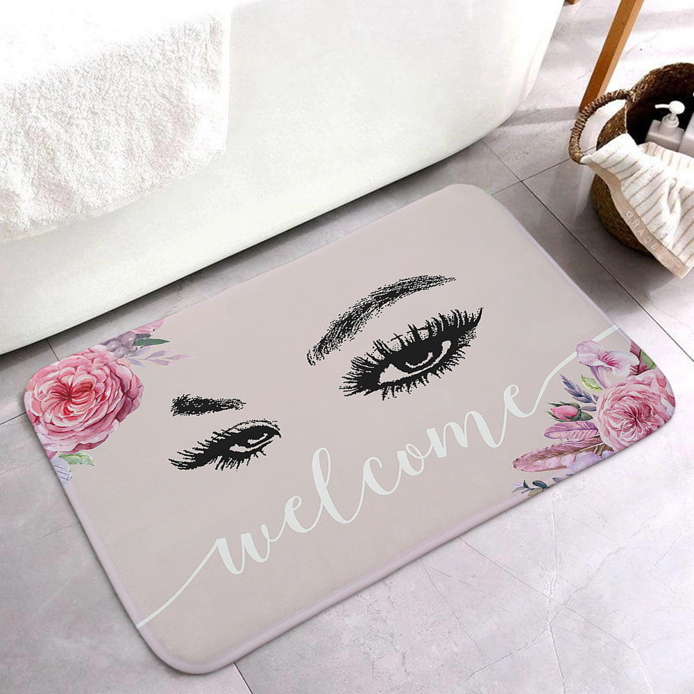 Anti-slip Absorb water Bath mat  Cartoon eyelash Bathroom kitchen bedroon floor mat Entrance Rugs kids prayer mat 40*60cm 0050 4