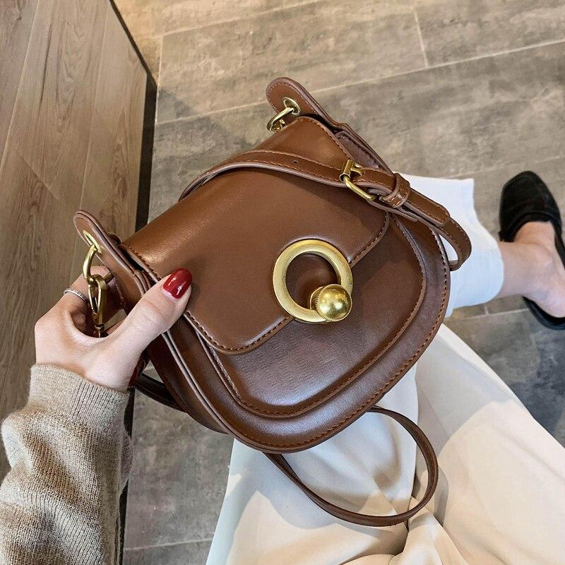 PU Leather Saddle Bags For Women 2020 Fashion Shoulder Messenger Bag Lady Solid Color Solid Handbags
