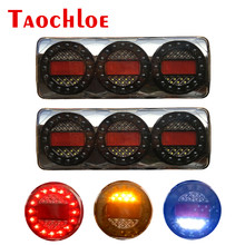 12V 24V Tail Lights Truck Trailer Reverse Stop Turn Signal LED Taillights Lorry Tractor Car Back Lamp Rear Light Red White Amber