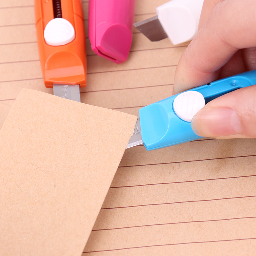 Fashion Portable Office To Learn Tailoring Supplies Useful Stationery Knife Stainless Steel Paper Cutter 5 Color Art Knife 1PC